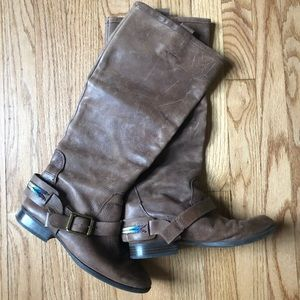 Lucky Brand Leather Riding Boots 7 Distressed